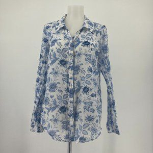 Joie Top Long Sleeve Floral Button Up Shirt Blue
